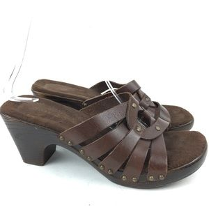 Maripe Sandals Sz 6.5 Pecan Leather Strappy Chunky